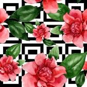 rosa Kamelienblüten mit grünen Blättern. Aquarell-Illustrationsset vorhanden. nahtloses Hintergrundmuster.