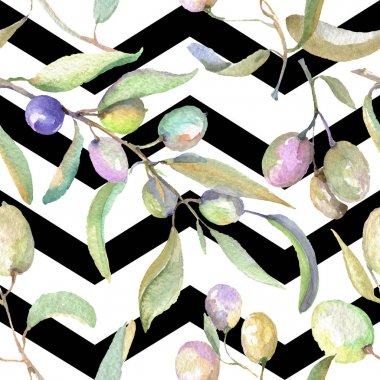 Olive branches with green fruit and leaves. Watercolor background illustration set. Seamless background pattern. stock vector