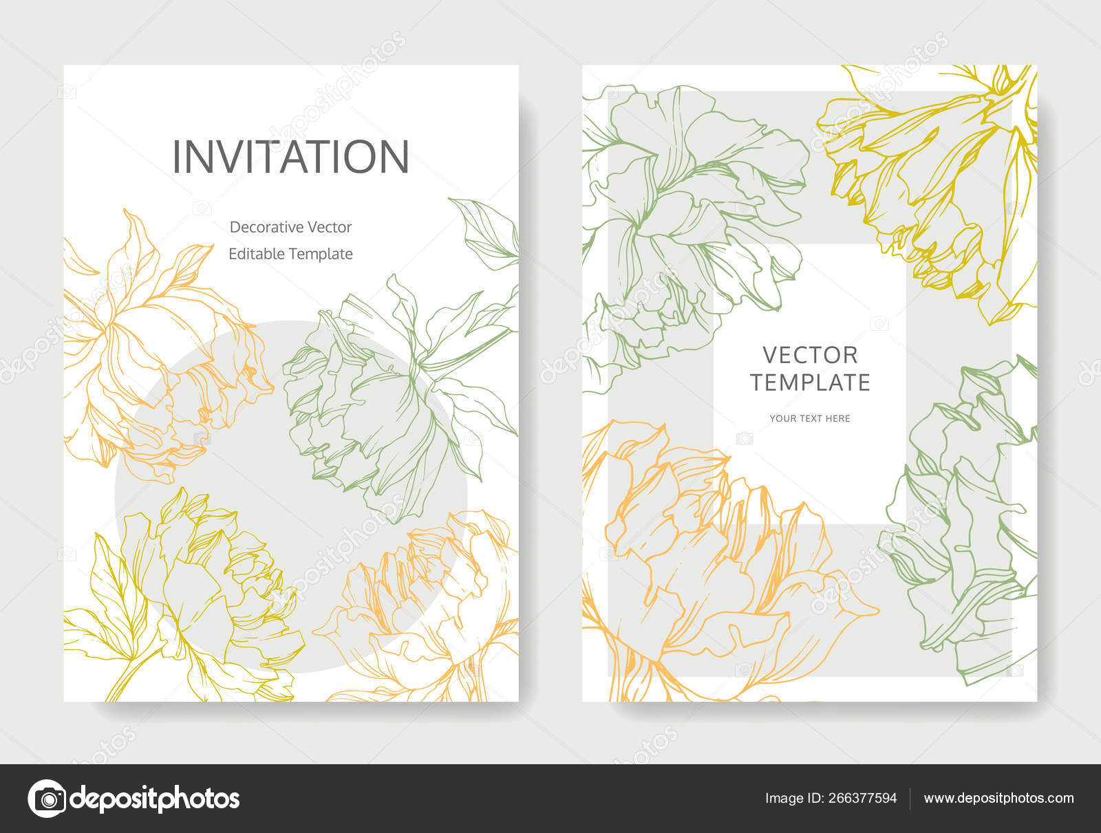 Invitation Cards Templates Lettering Vector Peonies Leaves