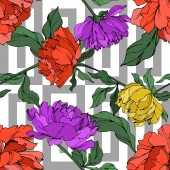 Vector multicolored peonies with leaves isolated on white. Seamless background pattern.