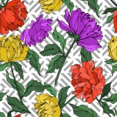 Fotografie Vector multicolored peonies with leaves isolated on white. Seamless background pattern.