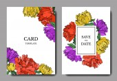 Invitation cards templates with lettering and vector multicolored peonies with leaves isolated on white.