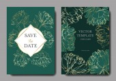Invitation cards templates with lettering and vector peonies with leaves sketches isolated on green.