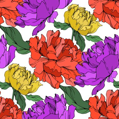 Vector multicolored peonies with leaves isolated on white. Seamless background pattern. stock vector