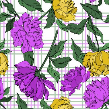 Vector multicolored peonies with leaves on plaid background. Seamless background pattern. stock vector