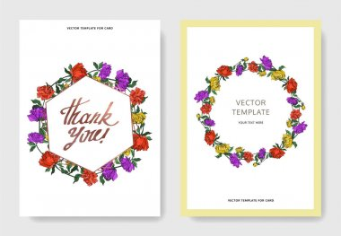 Invitation cards templates with lettering and vector multicolored peonies with leaves isolated on white. clip art vector