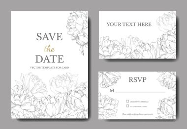 Invitation cards templates with lettering and vector black and white peonies with leaves isolated on white. stock vector