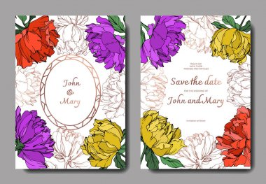 Vector multicolored peonies with leaves isolated on white. Elegant invitation cards templates with lettering. stock vector