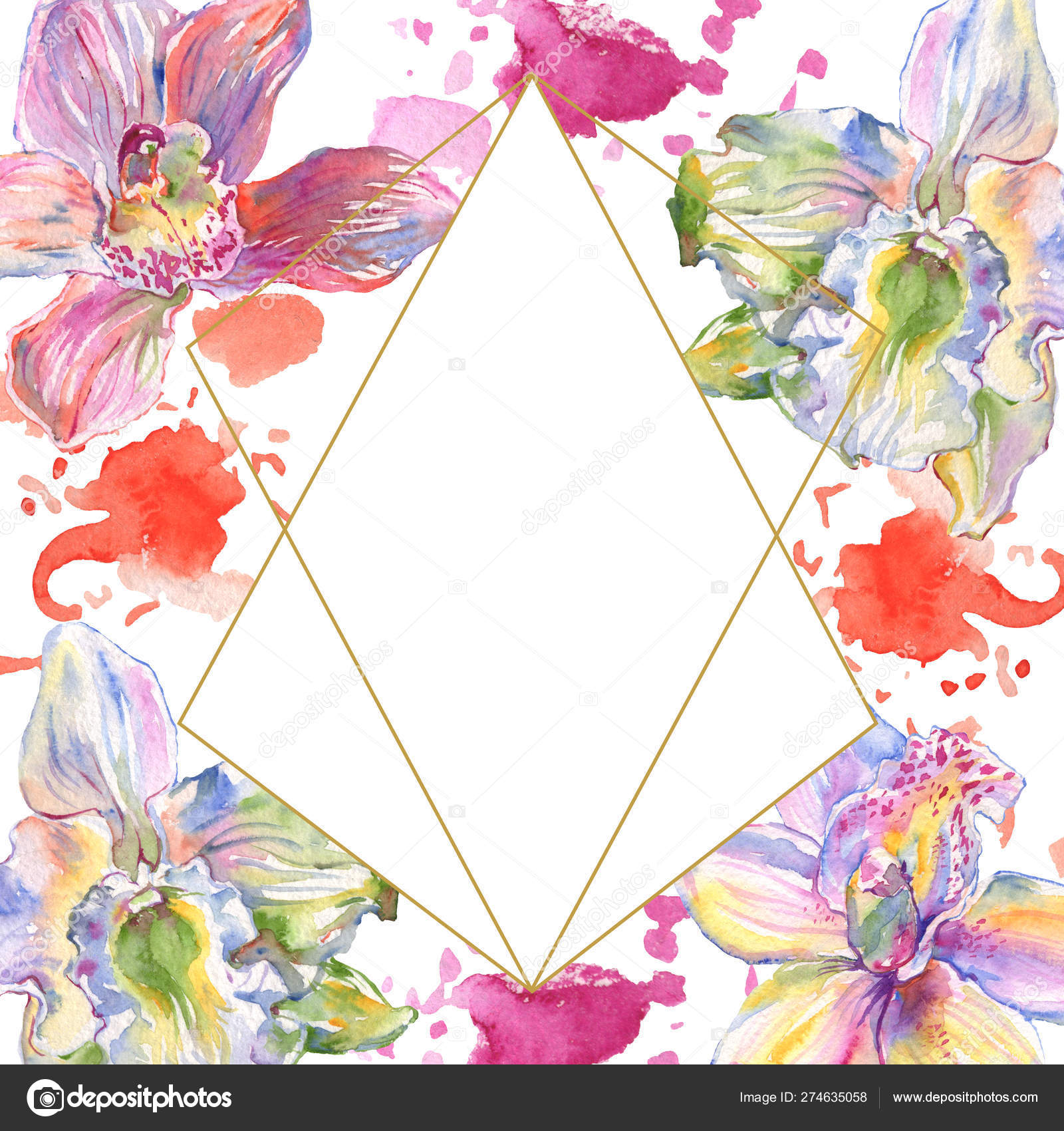 Orchid Floral Botanical Flowers Watercolor Background