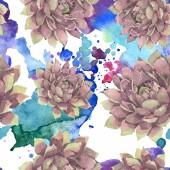 Sukkulente florale botanische Blume. wilde Frühlingsblume. Aquarell-Illustrationsset vorhanden. Aquarell zeichnen Mode-Aquarell. nahtlose Hintergrundmuster. Stoff Tapete drucken Textur.