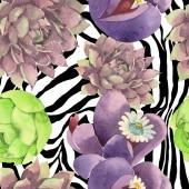 Succulent virágos virág botanikai. Vad tavaszi levél vadvirág. Akvarell illusztráció meg. Akvarell rajz divat Aquarelle. Folytonos háttérmintázat. Szövet tapéta nyomtatási textúra.