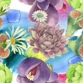 Fiore botanico floreale succulento. Fiore selvatico di foglia selvatica. Set di illustrazioni ad acquerello. Disegno ad acquerello moda aquarelle. Modello di sfondo senza soluzione di continuità. Tessuto carta da parati stampa texture.