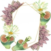 Sukkulente florale botanische Blume. wildes Frühlingsblatt Wildblume isoliert. Aquarell Hintergrundillustration Set. Aquarell zeichnen Mode-Aquarell. Rahmen Rand Kristall Ornament Quadrat.