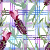Purple lavender floral botanical flowers. Watercolor background illustration set. Seamless background pattern.