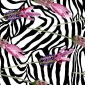 Lila levendula virágos botanikus virágok. Akvarell háttér illusztráció meg. Folytonos háttérmintázat.