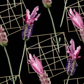 lila Lavendel blühende botanische Blumen. Aquarell Hintergrundillustration Set. nahtloses Hintergrundmuster.