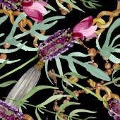 Fotografie Fialové levandule květinové botanické květy. Vodný obrázek pozadí-barevný. Bezespání vzorek pozadí.