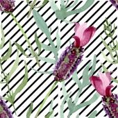 Purple lavender floral botanical flowers. Watercolor background illustration set. Seamless background pattern.