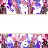 Fotografie Fialové levandule květinové botanické květy. Vodný obrázek pozadí-barevný. Orámovaná hranatá hranice.