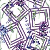 Photo Violet lavender floral botanical flower. Watercolor background illustration set. Seamless background pattern.