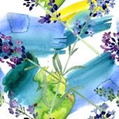 violettem Lavendel florale botanische Blume. Aquarell Hintergrundillustration Set. nahtloses Hintergrundmuster.