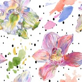 Photo Orchid floral botanical flowers. Watercolor background illustration set. Seamless background pattern.