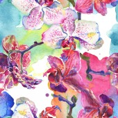 Fotografie Orchid floral botanical flowers. Watercolor background illustration set. Seamless background pattern.