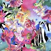 Fotografie Květinové botanické květiny. Vodný obrázek pozadí-barevný. Bezespání vzorek pozadí.
