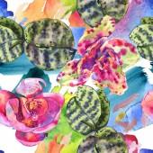 Fotografie Orchidee Blumen botanische Blume. Aquarell Hintergrundillustration Set. nahtloses Hintergrundmuster.