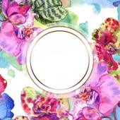 Fotografie Orchidee Blumen botanische Blume. Aquarell Hintergrundillustration Set. Rahmen Rand Ornament Quadrat.