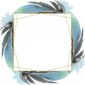 Vogelfeder vom Flügel isoliert. Aquarell Hintergrundillustration Set. Rahmen Rand Ornament Quadrat.