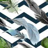 Photo Bird feather from wing isolated. Watercolor background illustration set. Seamless background pattern.