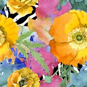 Yellow poppy floral botanical flowers. Watercolor background illustration set. Seamless background pattern.