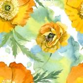 Gelber Mohn Blumen botanische Blumen. Aquarell-Hintergrund-Illustration-Set. Nahtloses Hintergrundmuster.