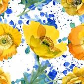 Sárga pipacs virágos botanikai virágok. Akvarell háttér illusztráció meg. Folytonos háttérmintázat.