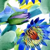 Kék lótusz virágos botanikai virágok. Akvarell háttér illusztráció meg. Folytonos háttérmintázat.