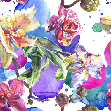 Orchid floral botanical flowers. Wild spring leaf wildflower. Watercolor illustration set. Watercolour drawing fashion aquarelle. Seamless background pattern. Fabric wallpaper print texture. stock vector