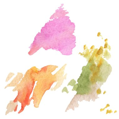 Abstract watercolor paper splash shapes isolated drawing. Illustration aquarelle for background, texture, wrapper pattern, frame or border. Watercolour drawing brush stain design. stock vector