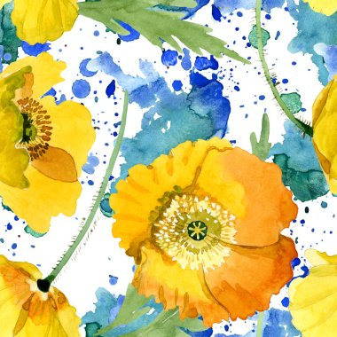 Yellow poppy floral botanical flowers. Wild spring leaf wildflower. Watercolor illustration set. Watercolour drawing fashion aquarelle. Seamless background pattern. Fabric wallpaper print texture. stock vector