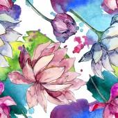 Lotus virág botanikai virágok. Akvarell háttér illusztráció meg. Folytonos háttérmintázat.