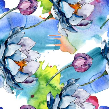Lotus floral botanical flowers. Wild spring leaf wildflower isolated. Watercolor illustration set. Watercolour drawing fashion aquarelle. Seamless background pattern. Fabric wallpaper print texture. stock vector