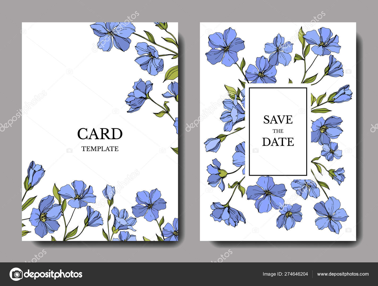 Vector Flax Botanical Flowers Blue And Green Engraved Ink