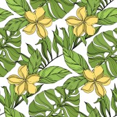 Palm Beach fa elhagyja dzsungel botanikai Succulent. Fekete és zöld gravírozott tinta művészet. Folytonos háttérmintázat.