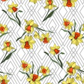 Vector Narcissus floral botanical flower. Yellow and green engraved ink art. Seamless background pattern.