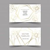 Květinové botanické květiny Vector Narcissus. Zlatý ryzovaný inkoust. Blahopřání k sňatku-ozdobný okraj.