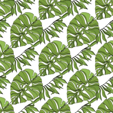 Exotic tropical hawaiian summer. Palm beach tree leaves jungle botanical succulent. Black and green engraved ink art. Seamless background pattern. Fabric wallpaper print texture. stock vector