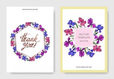 Vector Irises floral botanical flowers. Black and white engraved ink art. Wedding background card floral decorative border. Thank you, rsvp, invitation elegant card illustration graphic set banner. stock vector