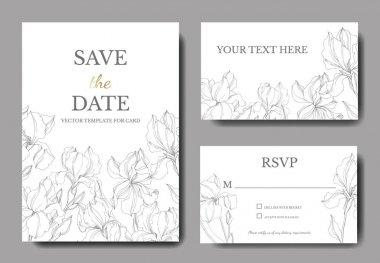 Vector Irises floral botanical flowers. Black and white engraved ink art. Wedding background card floral decorative border. Thank you, rsvp, invitation elegant card illustration graphic set banner. clip art vector