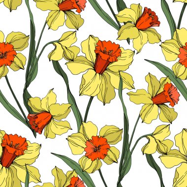 Vector Narcissus floral botanical flower. Wild spring leaf wildflower isolated. Yellow and green engraved ink art. Seamless background pattern. Fabric wallpaper print texture. stock vector