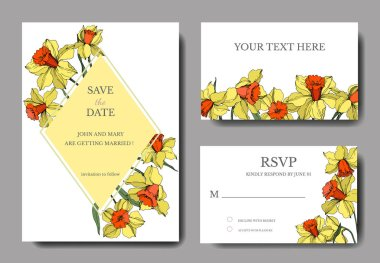 Vector Narcissus floral botanical flower. Yellow and green engraved ink art. Wedding background card floral decorative border. Thank you, rsvp, invitation elegant card illustration graphic set banner. clip art vector